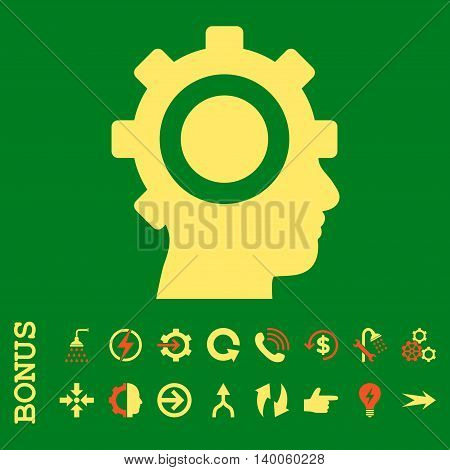 Cyborg Gear glyph bicolor icon. Image style is a flat iconic symbol, orange and yellow colors, green background.