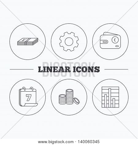 Euro wallet, cash money and chart icons. Coins linear sign. Flat cogwheel and calendar symbols. Linear icons in circle buttons. Vector