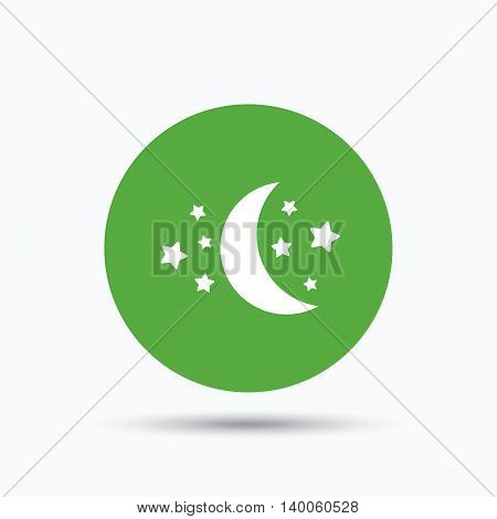 Moon and stars icon. Night sleep symbol. Flat web button with icon on white background. Green round pressbutton with shadow. Vector