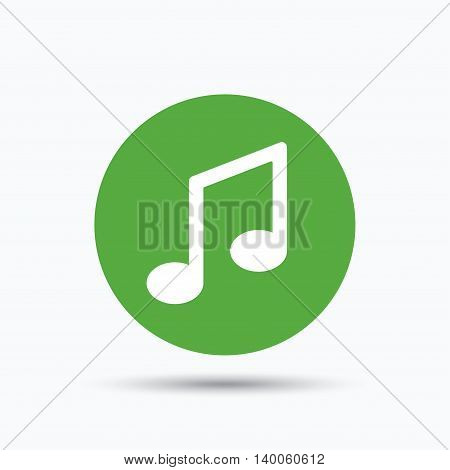 Music icon. Musical note sign. Melody symbol. Flat web button with icon on white background. Green round pressbutton with shadow. Vector