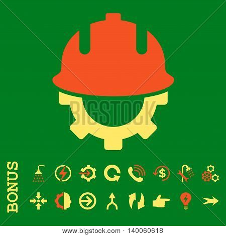 Development Helmet glyph bicolor icon. Image style is a flat pictogram symbol, orange and yellow colors, green background.
