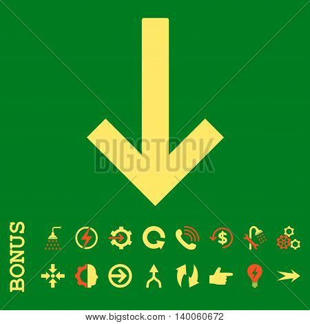 Down Arrow glyph bicolor icon. Image style is a flat pictogram symbol, orange and yellow colors, green background.