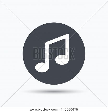 Music icon. Musical note sign. Melody symbol. Flat web button with icon on white background. Gray round pressbutton with shadow. Vector