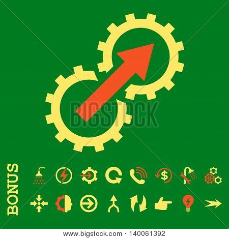 Gear Integration glyph bicolor icon. Image style is a flat iconic symbol, orange and yellow colors, green background.