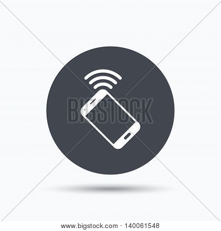 Cellphone icon. Mobile phone communication symbol. Flat web button with icon on white background. Gray round pressbutton with shadow. Vector