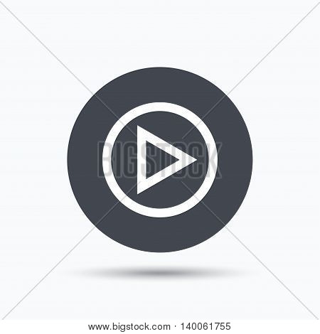 Play icon. Audio or Video player symbol. Flat web button with icon on white background. Gray round pressbutton with shadow. Vector