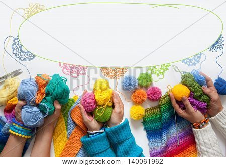 The Women Knit And Crochet Colored Fabric. View From Above.