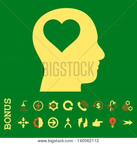 Lover Head glyph bicolor icon. Image style is a flat pictogram symbol, orange and yellow colors, green background.