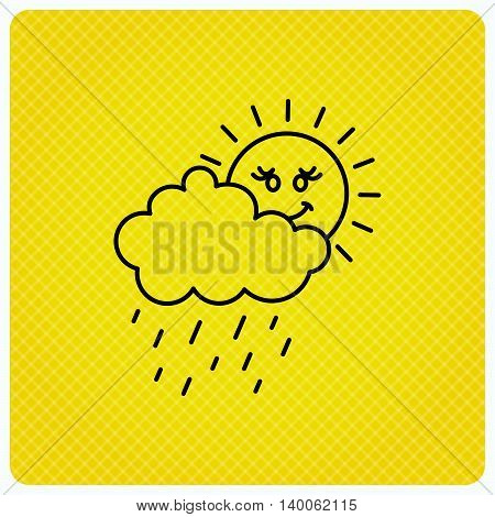 Rain and sun icon. Water drops and cloud sign. Rainy overcast day symbol. Linear icon on orange background. Vector