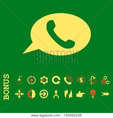 Phone Message glyph bicolor icon. Image style is a flat pictogram symbol, orange and yellow colors, green background.