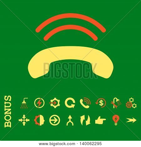 Phone Ring glyph bicolor icon. Image style is a flat pictogram symbol, orange and yellow colors, green background.
