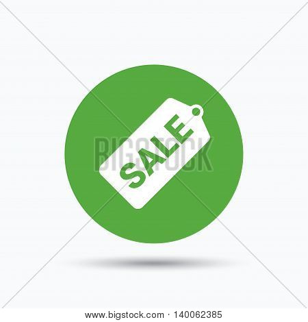 Sale coupon icon. Special offer tag symbol. Flat web button with icon on white background. Green round pressbutton with shadow. Vector