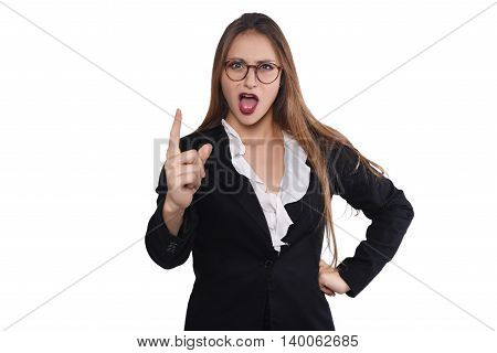 Portrait of a beautiful and angry businesswoman giving orders. Isolated white background.