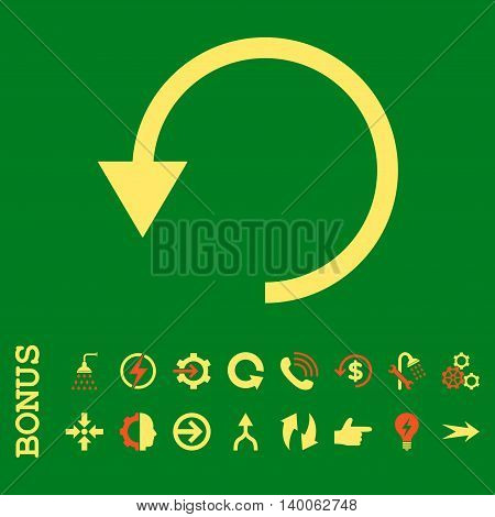 Rotate Ccw glyph bicolor icon. Image style is a flat pictogram symbol, orange and yellow colors, green background.