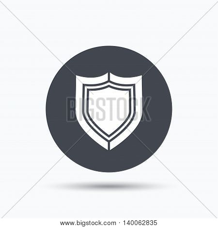 Shield protection icon. Defense equipment symbol. Flat web button with icon on white background. Gray round pressbutton with shadow. Vector