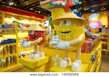 HONG KONG - MAY 12, 2016: inside a store in Hong Kong International Airport. Hong Kong International Airport is the main airport in Hong Kong. It is located on the island of Chek Lap Kok.