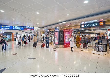 HONG KONG - MAY 12, 2016: inside of Hong Kong International Airport. Hong Kong International Airport is the main airport in Hong Kong. It is located on the island of Chek Lap Kok.