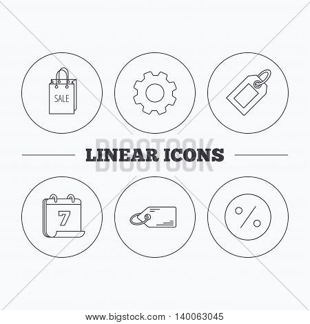 Price tag, sale bag and coupon icons. Discounts linear sign. Flat cogwheel and calendar symbols. Linear icons in circle buttons. Vector