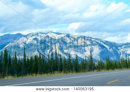 mountain and trees on the road trip national park background