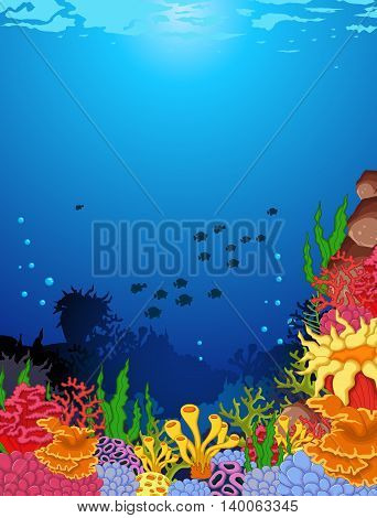 beauty of corals with underwater view background