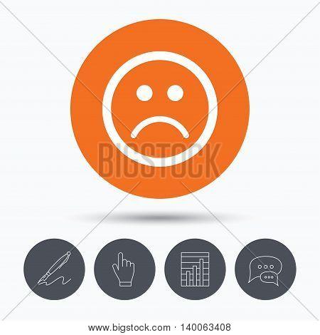Sad smiley icon. Bad feedback symbol. Speech bubbles. Pen, hand click and chart. Orange circle button with icon. Vector