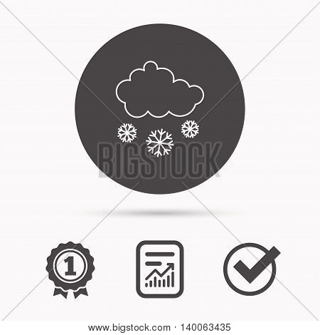 Snow icon. Snowflakes with cloud sign. Snowy overcast symbol. Report document, winner award and tick. Round circle button with icon. Vector