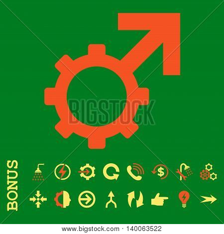 Technological Potence glyph bicolor icon. Image style is a flat pictogram symbol, orange and yellow colors, green background.