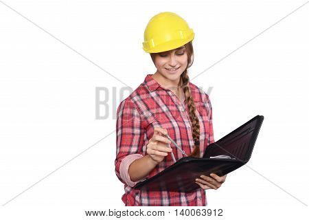 Portrait of beautiful woman construction worker with a compass and a folder. Isolated white background.