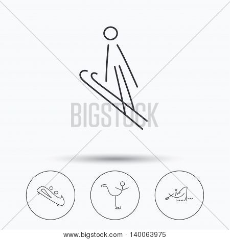 Fishing, figure skating and bobsled icons. Ski jumping linear sign. Linear icons in circle buttons. Flat web symbols. Vector