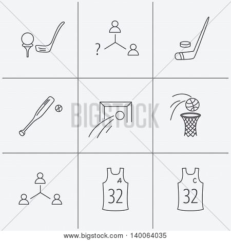 Football, ice hockey and baseball icons. Basketball, team assistant and captain linear signs. Teamwork, vacancy and golf icons. Linear icons on white background. Vector