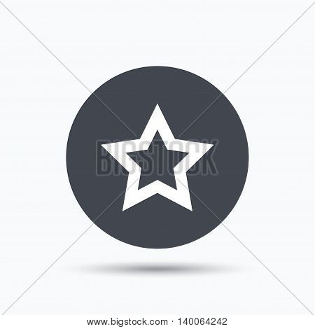 Star icon. Favorite or best sign. Web ranking symbol. Flat web button with icon on white background. Gray round pressbutton with shadow. Vector
