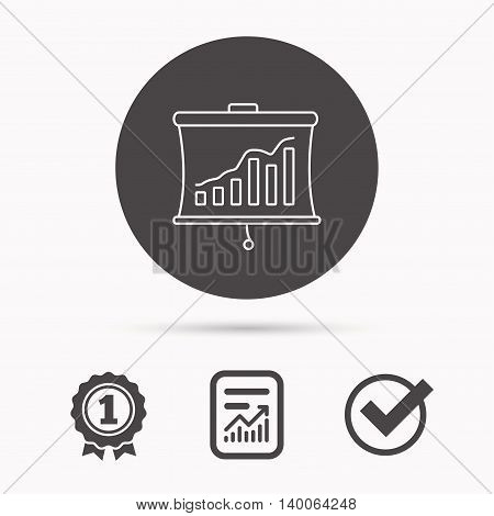 Statistic icon. Presentation board sign. Growth chart symbol. Report document, winner award and tick. Round circle button with icon. Vector