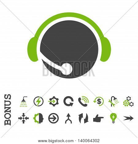 Call Center Operator glyph bicolor icon. Image style is a flat iconic symbol, eco green and gray colors, white background.