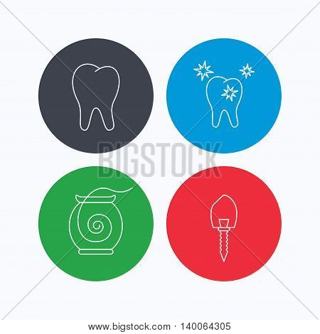 Tooth, healthy teeth and dental implant icons. Dental floss linear sign. Linear icons on colored buttons. Flat web symbols. Vector