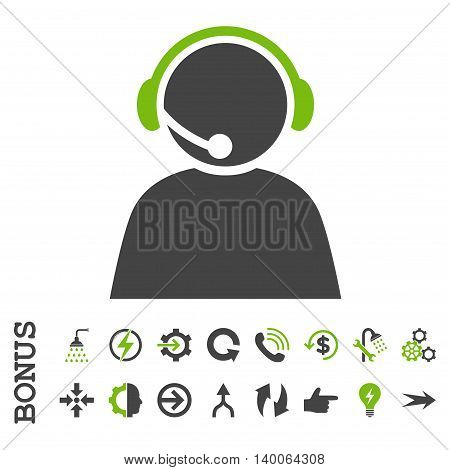 Call Center Operator glyph bicolor icon. Image style is a flat pictogram symbol, eco green and gray colors, white background.