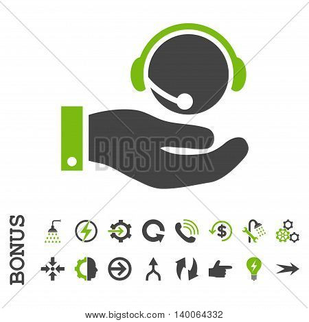 Call Center Service glyph bicolor icon. Image style is a flat iconic symbol, eco green and gray colors, white background.