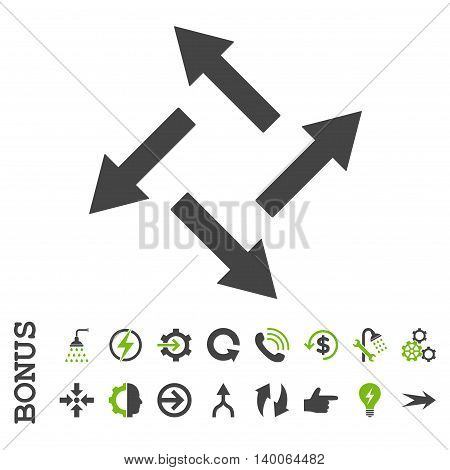 Centrifugal Arrows glyph bicolor icon. Image style is a flat iconic symbol, eco green and gray colors, white background.