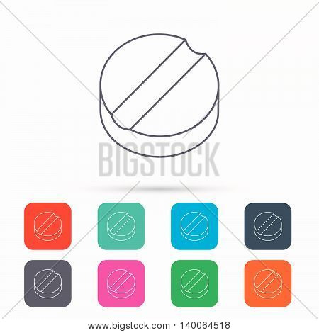 Tablet icon. Medicine drug sign. Pharmaceutical cure symbol. Linear icons in squares on white background. Flat web symbols. Vector