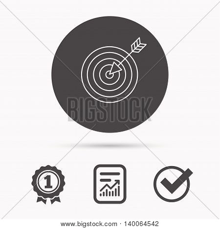 Target with arrow icon. Dart aim sign. Report document, winner award and tick. Round circle button with icon. Vector