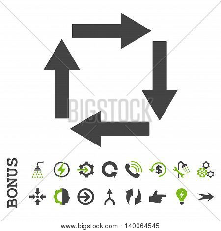 Circulation Arrows glyph bicolor icon. Image style is a flat iconic symbol, eco green and gray colors, white background.