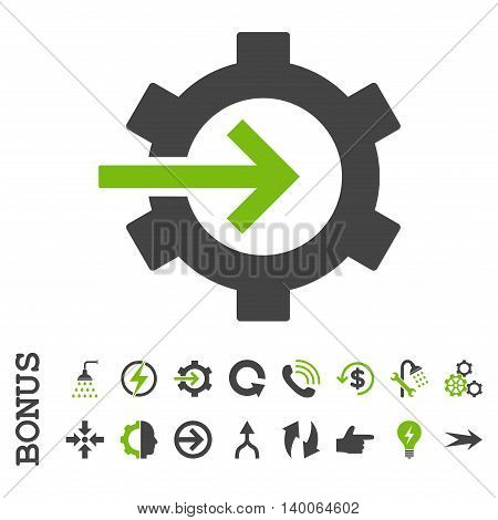 Cog Integration glyph bicolor icon. Image style is a flat iconic symbol, eco green and gray colors, white background.