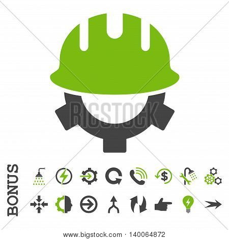 Development Helmet glyph bicolor icon. Image style is a flat pictogram symbol, eco green and gray colors, white background.