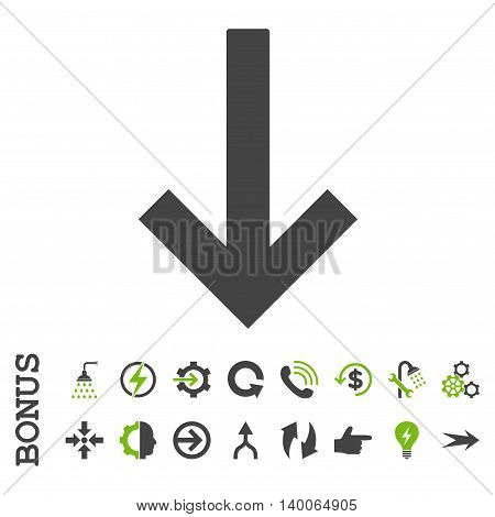 Down Arrow glyph bicolor icon. Image style is a flat pictogram symbol, eco green and gray colors, white background.