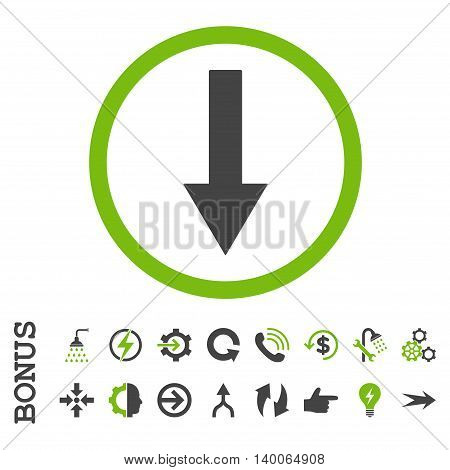 Down Rounded Arrow glyph bicolor icon. Image style is a flat pictogram symbol, eco green and gray colors, white background.