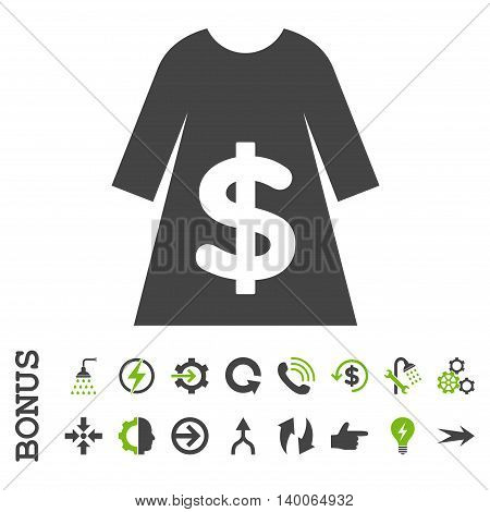 Dress Sale glyph bicolor icon. Image style is a flat pictogram symbol, eco green and gray colors, white background.