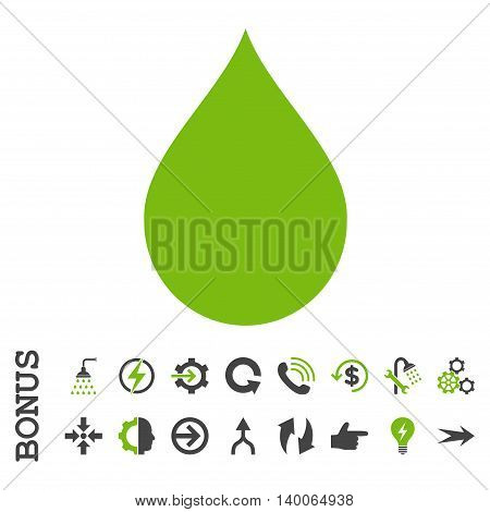 Drop glyph bicolor icon. Image style is a flat iconic symbol, eco green and gray colors, white background.