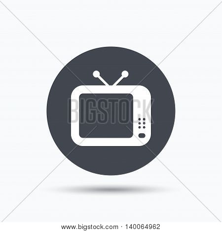 TV icon. Retro television symbol. Flat web button with icon on white background. Gray round pressbutton with shadow. Vector