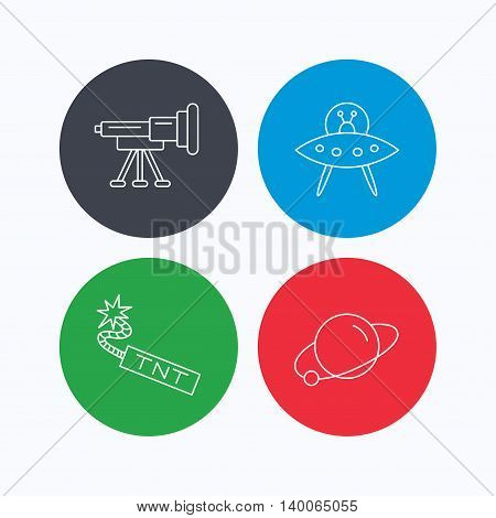 Ufo, planet and telescope icons. TNT dynamite linear sign. Linear icons on colored buttons. Flat web symbols. Vector