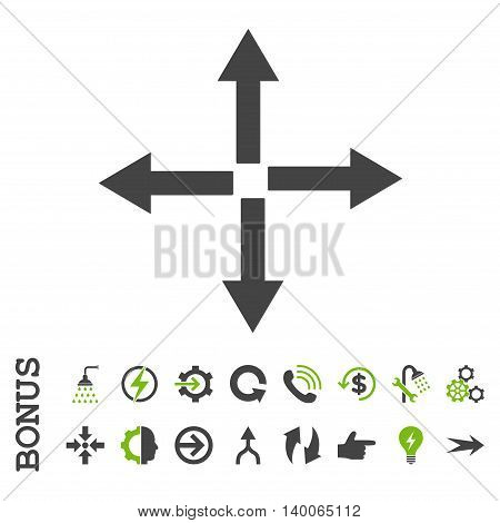Expand Arrows glyph bicolor icon. Image style is a flat iconic symbol, eco green and gray colors, white background.