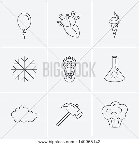 Newborn, heart and lab bulb icons. Ice cream, muffin and air balloon linear signs. Cloud and snowflake flat line icons. Linear icons on white background. Vector